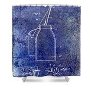 1927 Oil Can Patent Blue Shower Curtain