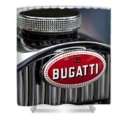 1928 Bugatti Hood Emblem Shower Curtain
