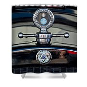 1928 Dodge Brothers Hood Ornament Shower Curtain by Jill Reger