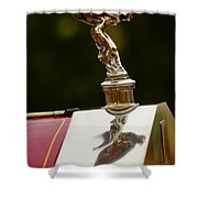 1928 Rolls-royce Phantom 1 Hood Ornament Shower Curtain
