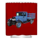 1929 Blue Chevy Truck 1 Ton Stake Body Shower Curtain