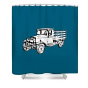1929 Chevy Truck 1 Ton Stake Body Drawing Shower Curtain