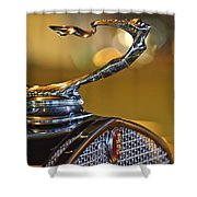 1930 Cadillac Roadster Hood Ornament Shower Curtain