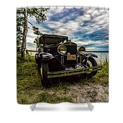 1930 Chevy On The Shore Of Higgins Lake Shower Curtain
