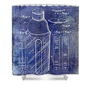 1930 Cocktail Shaker Patent Blue Shower Curtain