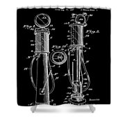 1930 Gas Pump Patent In Black Shower Curtain