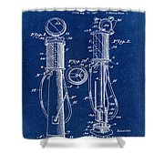 1930 Gas Pump Patent In Blue Shower Curtain