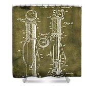 1930 Gas Pump Patent In Grunge Shower Curtain
