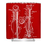 1930 Gas Pump Patent In Red Shower Curtain