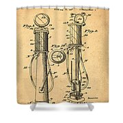 1930 Gas Pump Patent In Sepia Shower Curtain