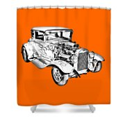 1930 Model A Custom Hot Rod Illustration Shower Curtain