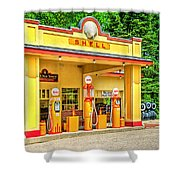 1930s Shell Gas Station Shower Curtain