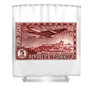 1931 Airplane Over Madrid Spain Stamp Shower Curtain