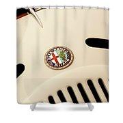1931 Alfa Romeo 6c 1750 Gran Sport Aprile Spider Corsa Hood Emblem Shower Curtain