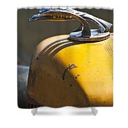 1931 Chevrolet Hood Ornament On A 1951 For Rat Rod Shower Curtain
