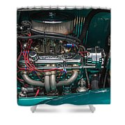 1931 Teal Chevy Hot Rod Motor Shower Curtain