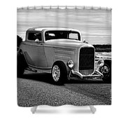 1932 Ford Coupe 'black And White' Shower Curtain