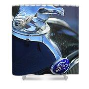 1932 Ford Quail Hood Ornament Shower Curtain