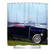 1932 Ford Roadster 'shoreline' Shower Curtain