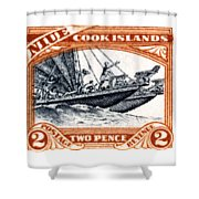 1932 Niue Island Stamp Shower Curtain