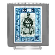 1932 Papua New Guinea Native Dandy Postage Stamp Shower Curtain