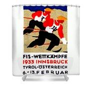 1933 Austrian Ski Race Poster Shower Curtain