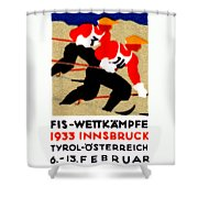 1933 Austrian Ski Race Poster Shower Curtain