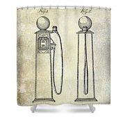 1933 Gas Pump Patent Shower Curtain