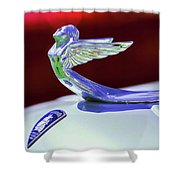 1933 Plymouth Hood Ornament -0121rc Shower Curtain