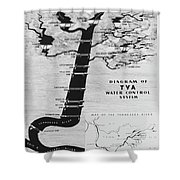 1933 Tennessee Valley Authority Map Shower Curtain