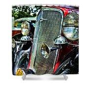 1934 Chevrolet Head Lights Shower Curtain