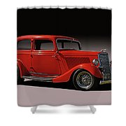 1934 Ford Red Two Door Sedan Shower Curtain