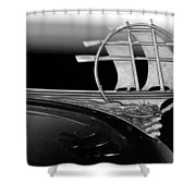 1934 Plymouth Hood Ornament Black And White Shower Curtain