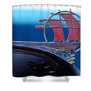 1934 Plymouth Hood Ornament Shower Curtain