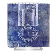 1935 Beer Equipment Patent Blue Shower Curtain