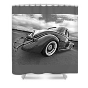 1935 Ford Coupe In Black And White Shower Curtain