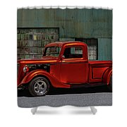 1935 Ford Pickup Parked At Garage Shower Curtain