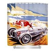1936 F1 Monaco Grand Prix  Shower Curtain by Georgia Fowler