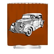 1936 Ford Phaeton Convertible Illustration  Shower Curtain