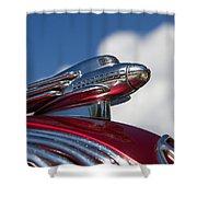 1936 Hupmobile Hood Ornament Shower Curtain