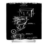 1936 Toilet Bowl Patent Black Shower Curtain