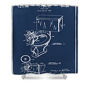 1936 Toilet Bowl Patent Blue Shower Curtain