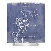 1936 Toilet Bowl Patent Blue Grunge Shower Curtain