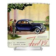 1937 Ford Car Ad Shower Curtain