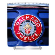 1937 Packard 12 Coupe Roadster Emblem Shower Curtain