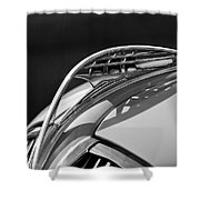 1937 Plymouth Hood Ornament 3 Shower Curtain