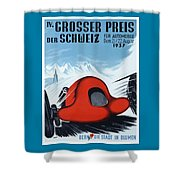 1937 Switzerland Grand Prix Racing Poster Shower Curtain