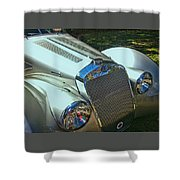 1938 Delage D8 - 120 Aerodynamic Coupe Front Grill Shower Curtain