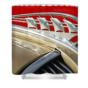 1938 Plymouth Hood Ornament Shower Curtain