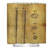 1939 Baseball Bat Patent Shower Curtain